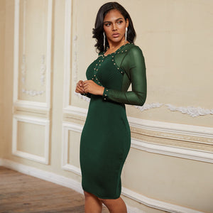 Round Neck Long Sleeve Rhinestone Over Knee Bandage Dress PP19239 7 in wolddress