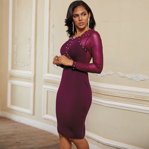 Round Neck Long Sleeve Rhinestone Over Knee Bandage Dress PP19239 5 in wolddress