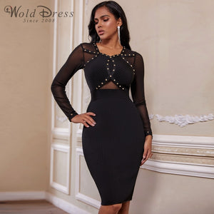 Round Neck Long Sleeve Rhinestone Over Knee Bandage Dress PP19239 2 in wolddress