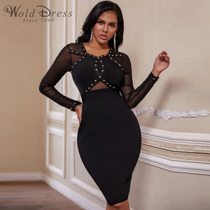 Round Neck Long Sleeve Rhinestone Over Knee Bandage Dress PP19239 1 in wolddress