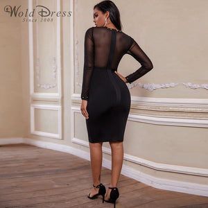 Round Neck Long Sleeve Rhinestone Over Knee Bandage Dress PP19239 3 in wolddress