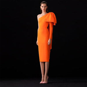 Bowknot Asymmetrical One Sleeve Bandage Dress PP19348 1 in wolddress