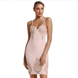 Strappy Sleeveless Embroidered Mini Bandage Dress PS19112 11 in wolddress