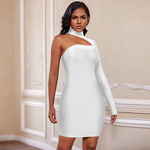 High Neck Long Sleeve Asymmetrical Mini Bandage Dress PZ19187 12 in wolddress