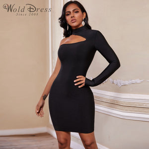High Neck Long Sleeve Asymmetrical Mini Bandage Dress PZ19187 1 in wolddress
