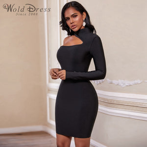 High Neck Long Sleeve Asymmetrical Mini Bandage Dress PZ19187 2 in wolddress