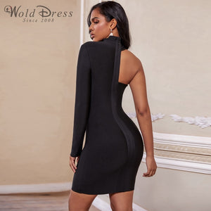 High Neck Long Sleeve Asymmetrical Mini Bandage Dress PZ19187 3 in wolddress