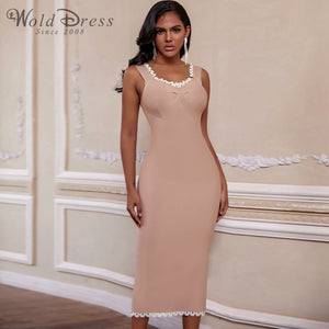 Strappy Sleeveless Frill Over Knee Bandage Dress PZ19194 1 in wolddress
