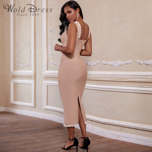 Strappy Sleeveless Frill Over Knee Bandage Dress PZ19194 2 in wolddress
