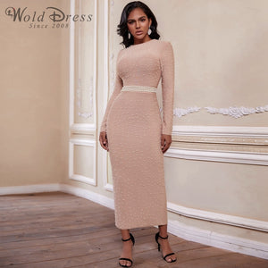 Round Neck Long Sleeve Beaded Maxi Bandage Dress PZ19233 1 in wolddress