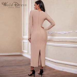 Round Neck Long Sleeve Beaded Maxi Bandage Dress PZ19233 2 in wolddress