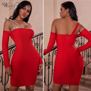 Off Shoulder Long Sleeve Rhinestone Mini Bandage Dress PZ19240 2 in wolddress