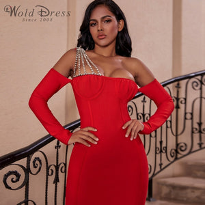 Off Shoulder Long Sleeve Rhinestone Mini Bandage Dress PZ19240 1 in wolddress