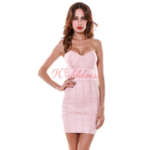Strapless Sleeveless Striped Mini Bodycon Dress SP033 1 in wolddress