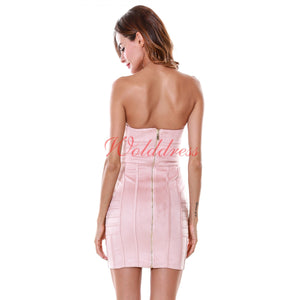 Strapless Sleeveless Striped Mini Bodycon Dress SP033 3 in wolddress