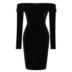 Off Shoulder Long Sleeve Ruched Over Knee Bodycon Dress SP056 4 in wolddress