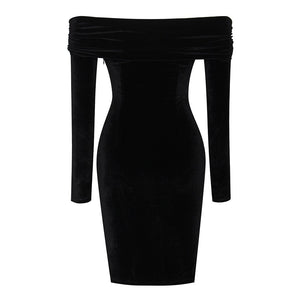Off Shoulder Long Sleeve Ruched Over Knee Bodycon Dress SP056 5 in wolddress