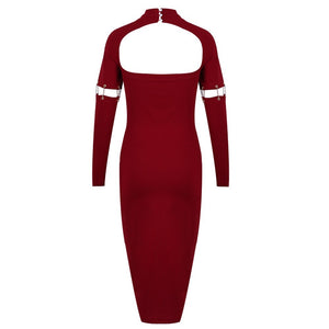Round Neck Long Sleeve Cut Out Over Knee Bodycon Dress SP080103 5 in wolddress