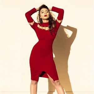 Round Neck Long Sleeve Cut Out Over Knee Bodycon Dress SP080103 1 in wolddress
