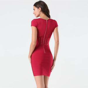 V Neck Short Sleeve Plain Mini Bandage Dress SW027 2 in wolddress