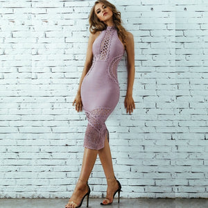 High Neck Sleeveless Mesh Over Knee Bandage Dress SW033 10 in wolddress