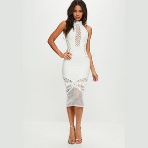 High Neck Sleeveless Mesh Over Knee Bandage Dress SW033 1 in wolddress
