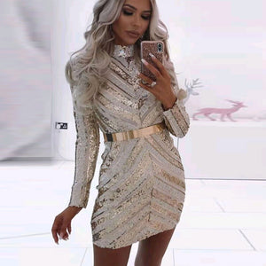 Round Neck Long Sleeve Sequined Mini Bodycon Dress SW060 1 in wolddress