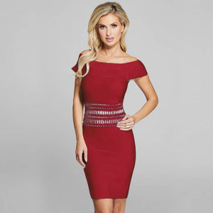 Off Shoulder Short Sleeve Sequined Mini Bandage Dress SW063 3 in wolddress