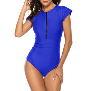 Round Neck Short Sleeve Stretchy Bodycon Swimsuit YS20002 29 in wolddress