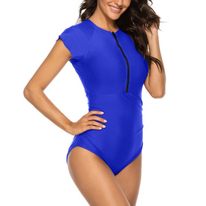 Round Neck Short Sleeve Stretchy Bodycon Swimsuit YS20002 31 in wolddress