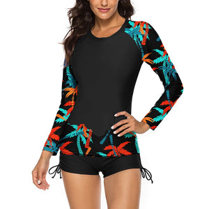 Round Neck Long Sleeve 2 Piece Bodycon Swimsuit YS20007 28 in wolddress