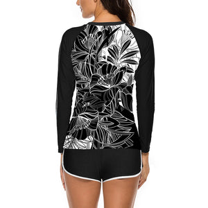 Round Neck Long Sleeve 2 Piece Bodycon Swimsuit YS20007 27 in wolddress