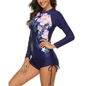 Round Neck Long Sleeve 2 Piece Bodycon Swimsuit YS20007 12 in wolddress