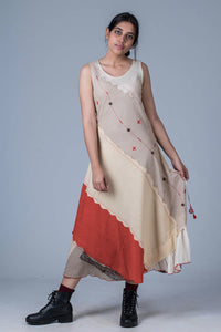 Off White Upcycled Dress - AARNAVI