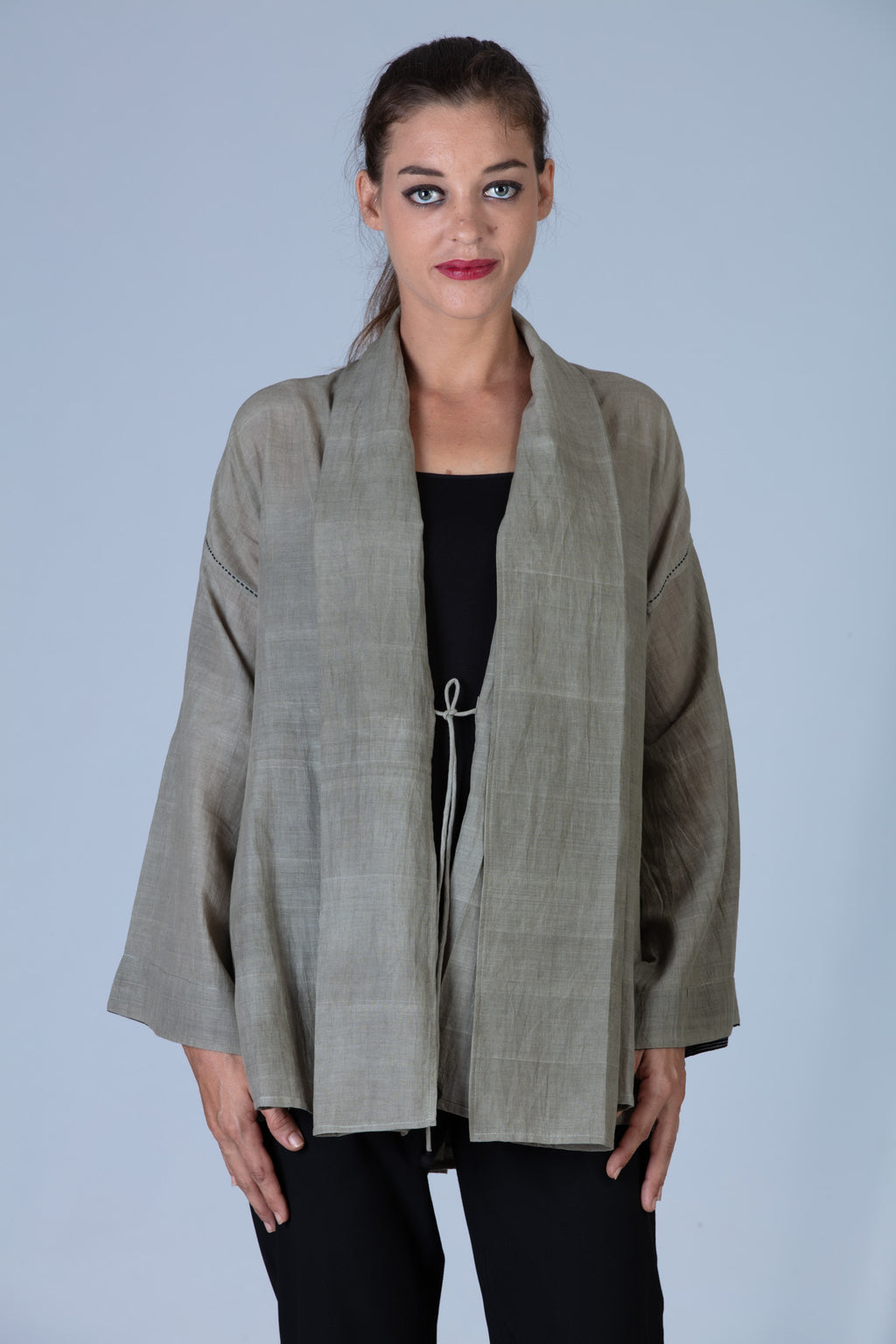 Tulsi dyed Organic cotton Jacket - MITHILA - Upasana Design Studio