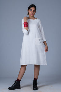 White Khadi dress - PARINA - Upasana Design Studio