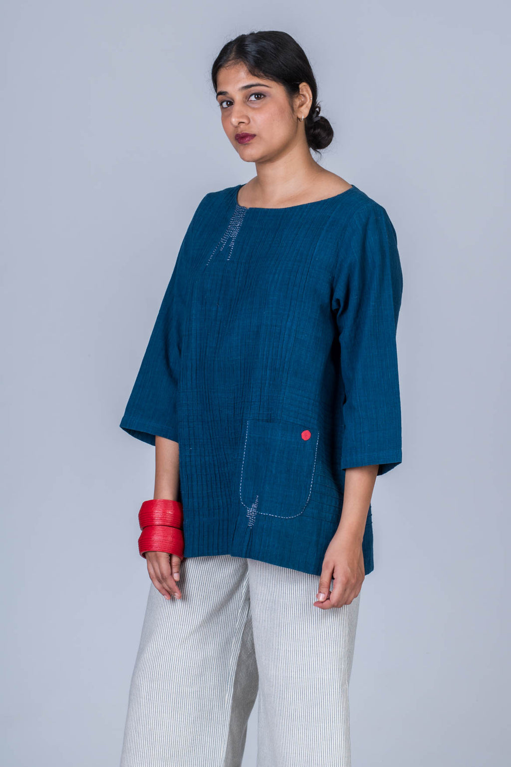 Natural Indigo Cotton Long Top - PARI - Upasana Design Studio