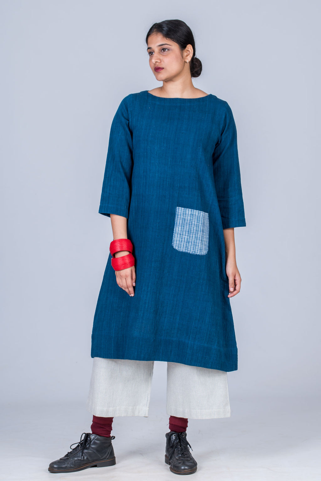 Natural Indigo Khadi Dress - PARINA - Upasana Design Studio