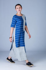 Blue striped Organic Cotton and Blue Ikat Asymetric Dress