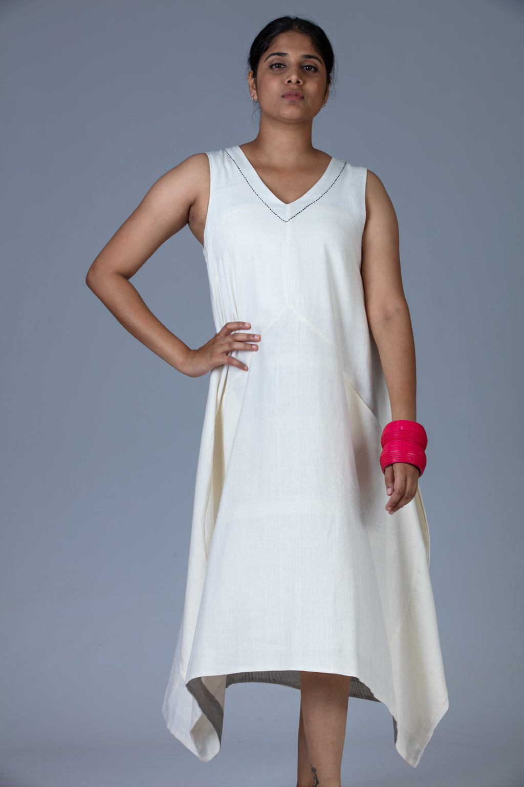 White Khadi Dress - INES - Upasana Design Studio