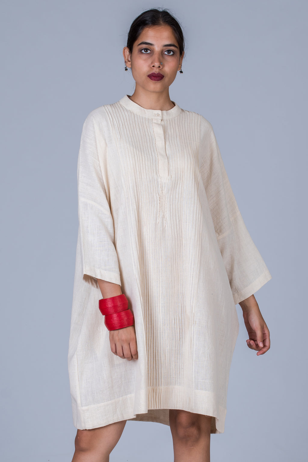 Offwhite Khadi Pintuck Dress - MUKTA