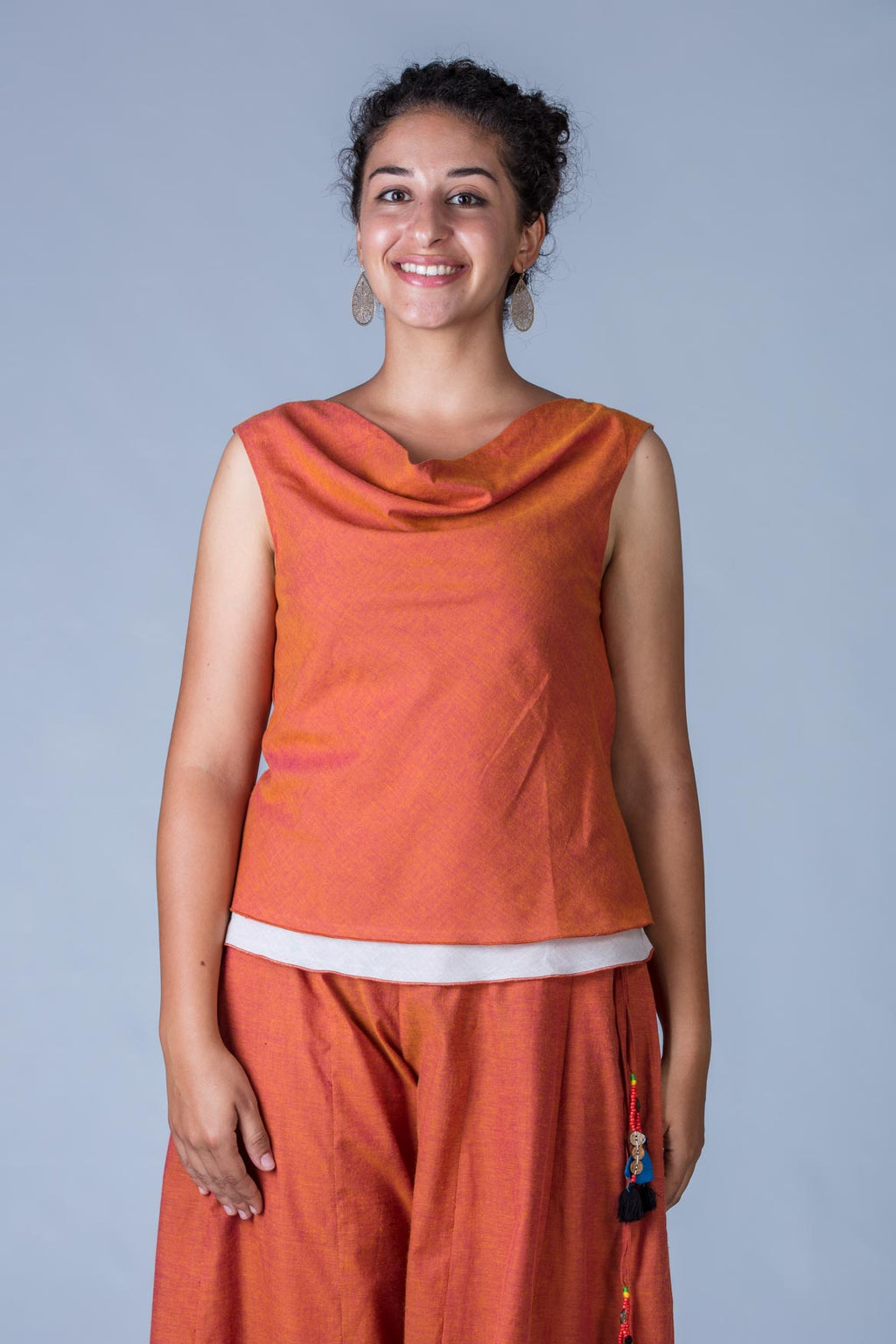 Orange Organic Cotton Top - COWL - Upasana Design Studio