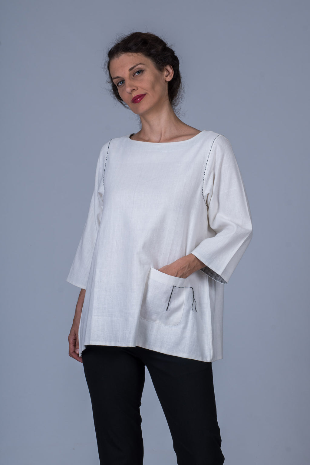 White Khadi Top - PARI