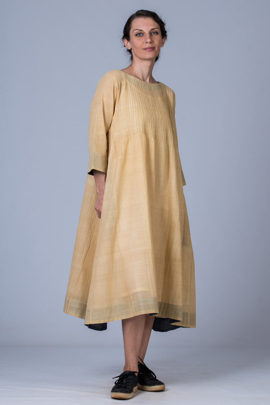 Neem dyed Organic cotton Dress - UDUPU - Upasana Design Studio