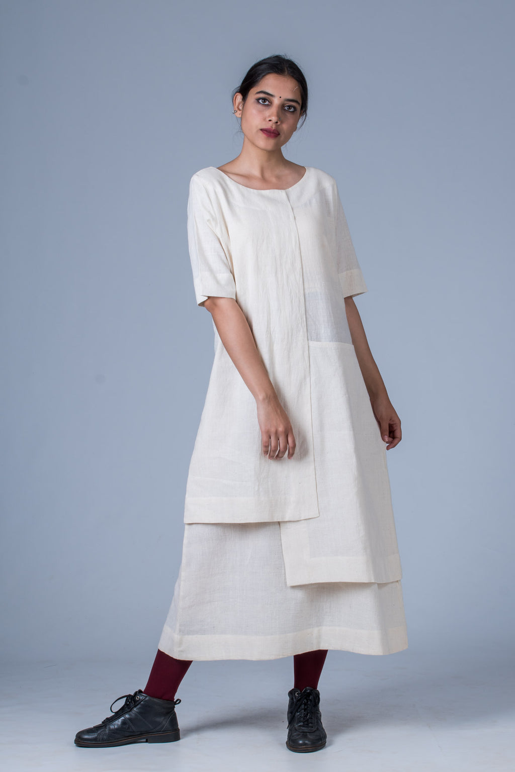 Offwhite Khadi Dress - SANGYA