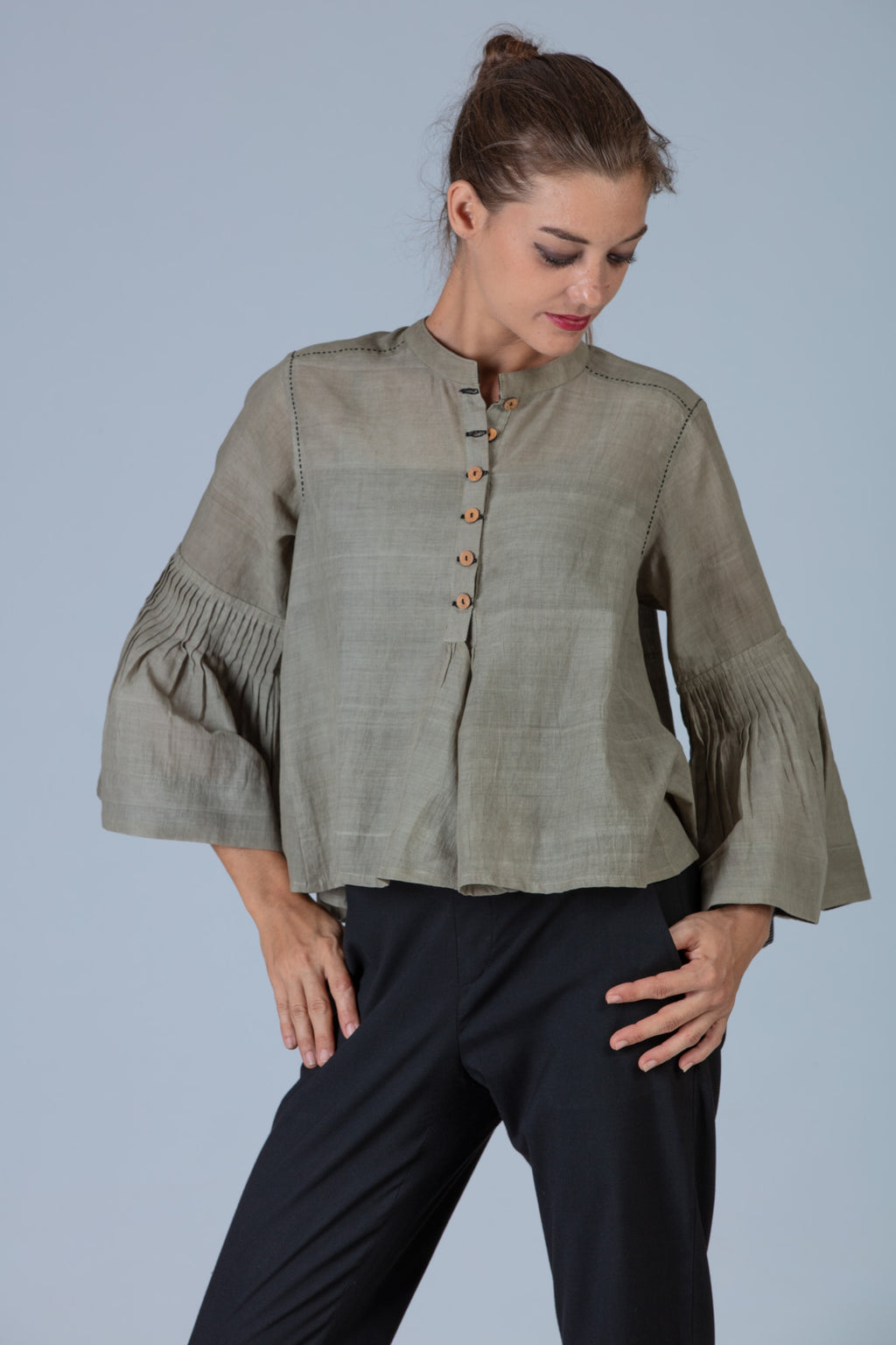 Tulsi dyed Organic cotton Top - SAIYUKTA - Upasana Design Studio