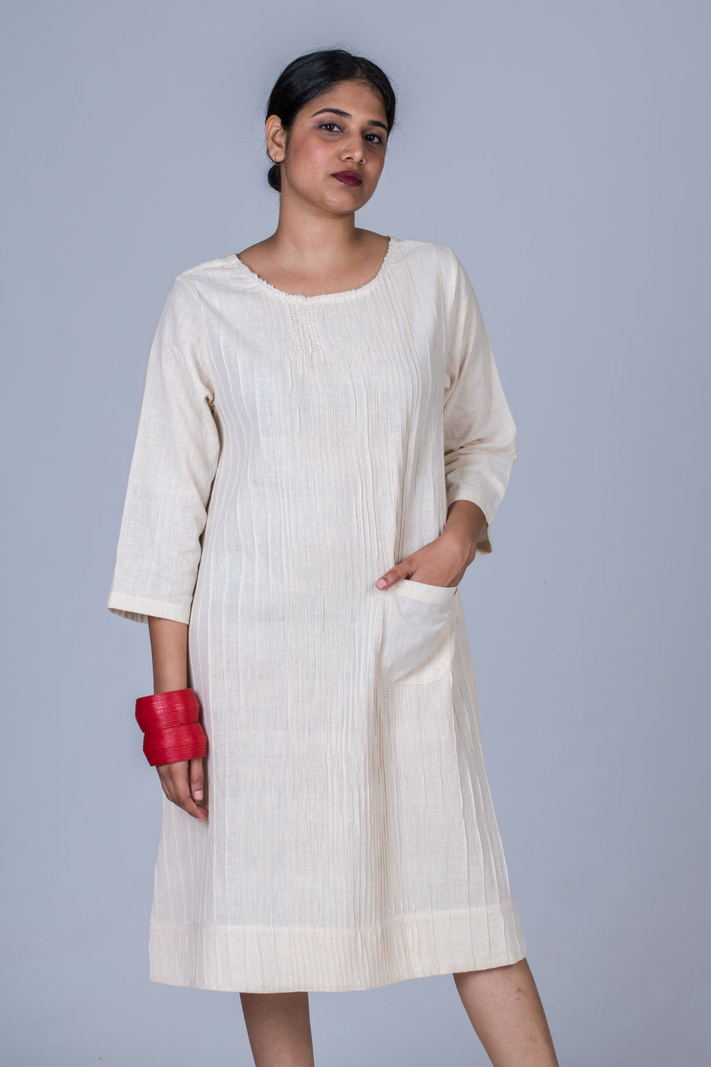 Off White Desi cotton Khadi pintuck dress - PARINA