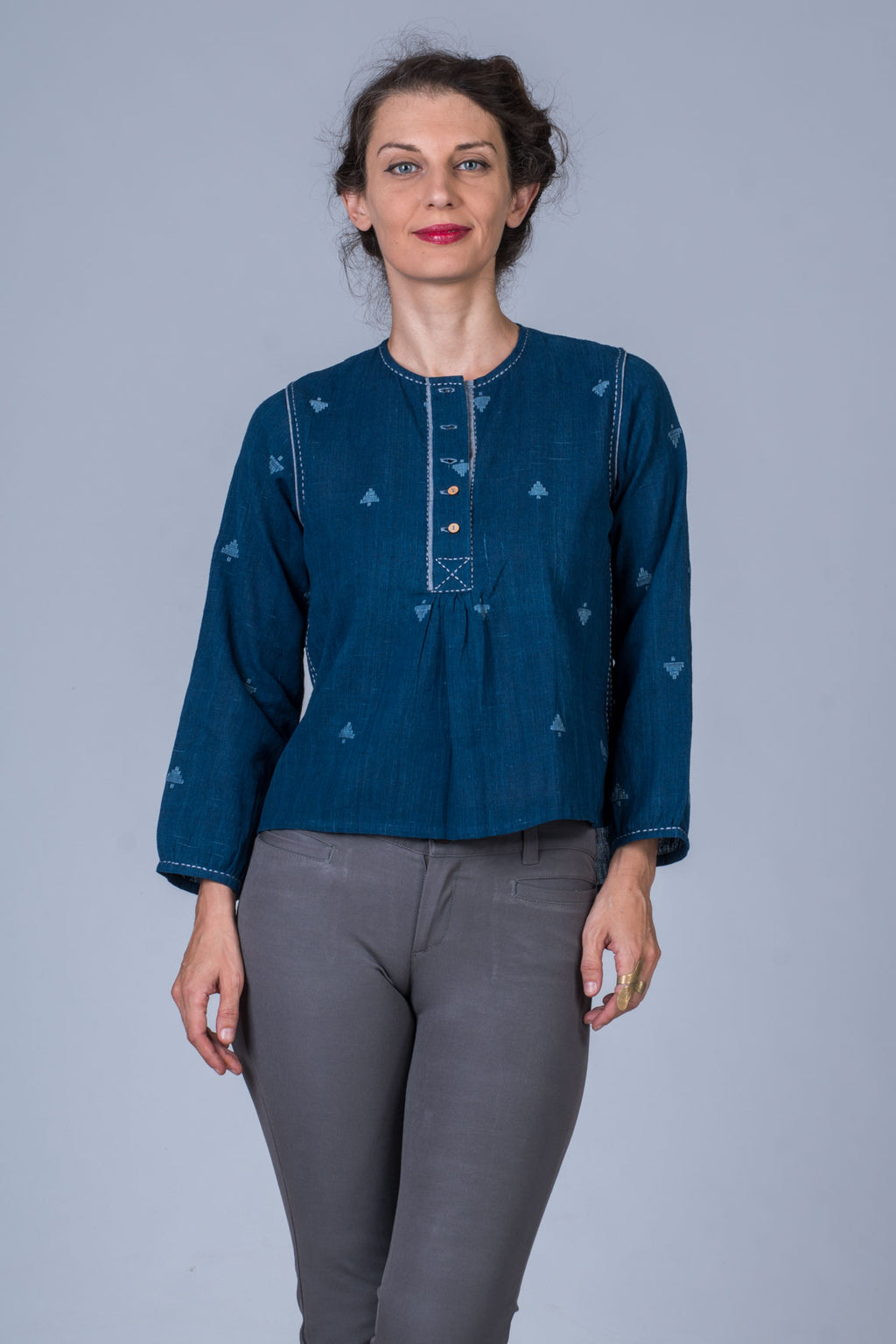 Natural Indigo Khadi Jamdani Top - SRIA - Upasana Design Studio