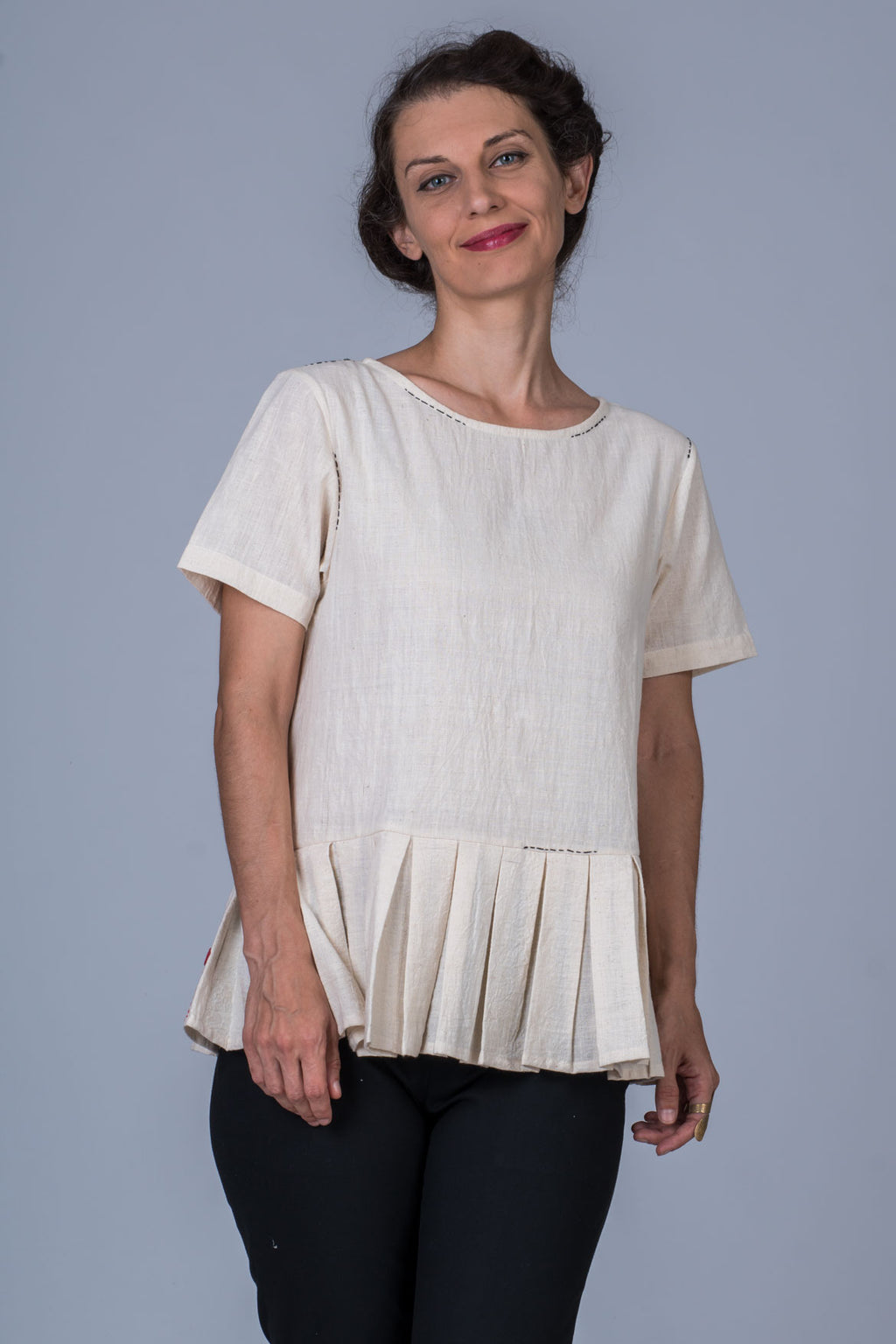 Off White Desi Cotton Khadi Top - WHY - Upasana Design Studio