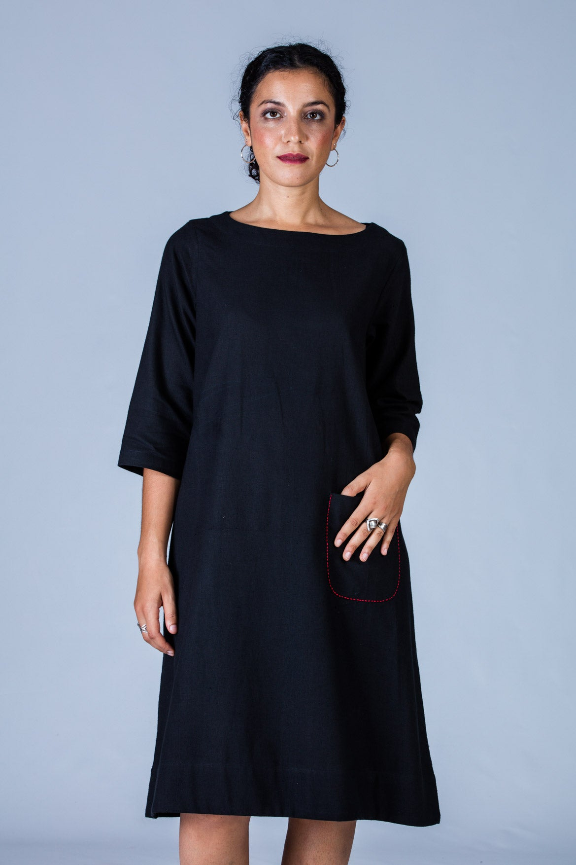 Black Khadi Dress - PARINA